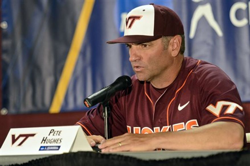 **FILE** Virginia Tech head coach, Pete Hughes speaks to media after an NCAA college baseball tournament regional game against Oklahoma at English Field in Blacksburg, Va., Sunday, June 2, 2013. Oklahoma won 10-4. (AP Photo/Michael Shroyer)