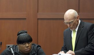 Prosecution witness Rachel Jeantel listens as defense attorney Don West questions her during her testimony in George Zimmerman's trial in Seminole Circuit Court in Sanford, Fla., on Wednesday, June 26, 2013. Mr. Zimmerman is charged with second-degree murder in the 2012 shooting death of Trayvon Martin. (AP Photo/Orlando Sentinel, Jacob Langston, Pool)
