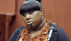 Witness Rachel Jeantel continues her testimony during George Zimmerman's trial in Seminole circuit court in Sanford, Fla. Thursday, June 27, 2013. Zimmerman has been charged with second-degree murder for the 2012 shooting death of Trayvon Martin.(AP Photo/Orlando Sentinel, Jacob Langston, Pool)