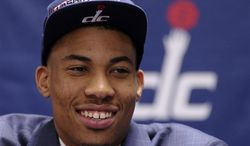 Washington Wizards 2013 top NBA draft pick Otto Porter speaks during a news conference at the Verizon Center in Washington, Friday, June 28, 2013. The Wizards selected Porter who was the third overall pick in the NBA draft. (AP Photo/Susan Walsh)