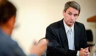 Gubernatorial candidate Kenneth T. Cuccinelli II says he is focused on Virginia, not social issues such as gay marriage. (Andrew Harnik/The Washington Times)