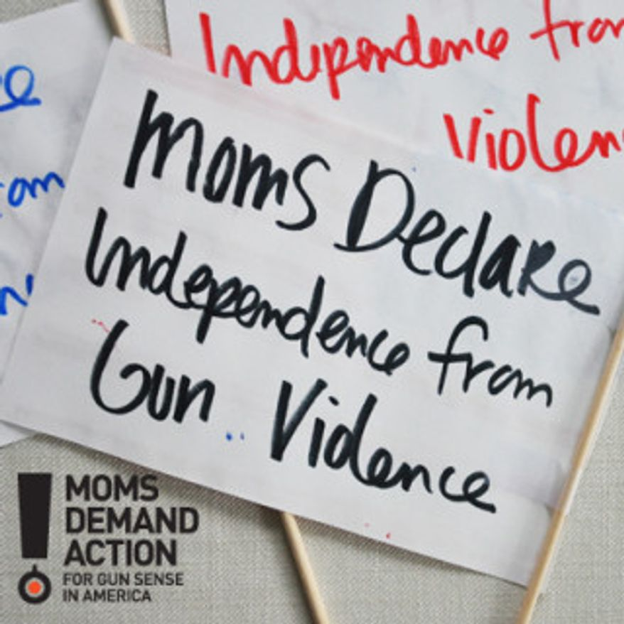 "The grassroots group Moms Demand Action is calling for its 100,000 members to march for ""gun sense"" during the Fourth of July. (image from Moms Demand Action)"
