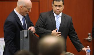 George Zimmerman (right) and defense attorney Don West arrive for the 16th day of Mr. Zimmerman's trial in Seminole Circuit Court in Sanford, Fla., on Monday, July 1, 2013. Mr. Zimmerman is charged with second-degree murder in the 2012 shooting death of Trayvon Martin. (AP Photo/Orlando Sentinel, Joe Burbank, Pool)
