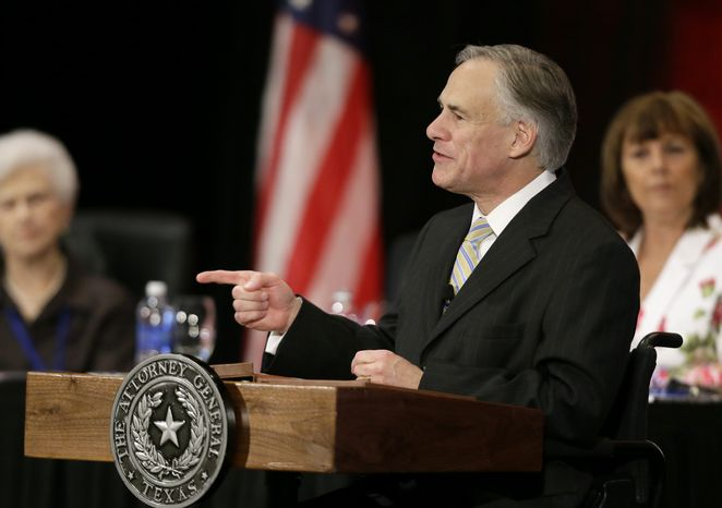 Texas Attorney General Greg Abbott delivers comments at the 43rd annual National Right to Life convention on Thursday, June 27, 2013, in Grapevine, Texas. (AP Photo/Tony Gutierrez)