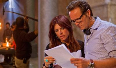 """Executive producers Mark Burnette and Roma Downey are pictured on the set of """"The Bible."""" (PRNewsFoto/The History Channel)"""