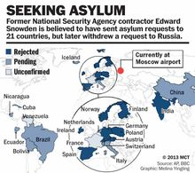 Graphic of countries where Edward Snowden is seeking asylum.