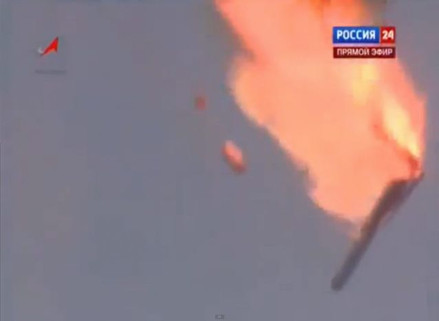 A Russian booster rocket carrying three satellites crashed in Kazakhstan on Tuesday following an emergency shutdown of the engines after launch. (Vesti 24 via Associated Press)