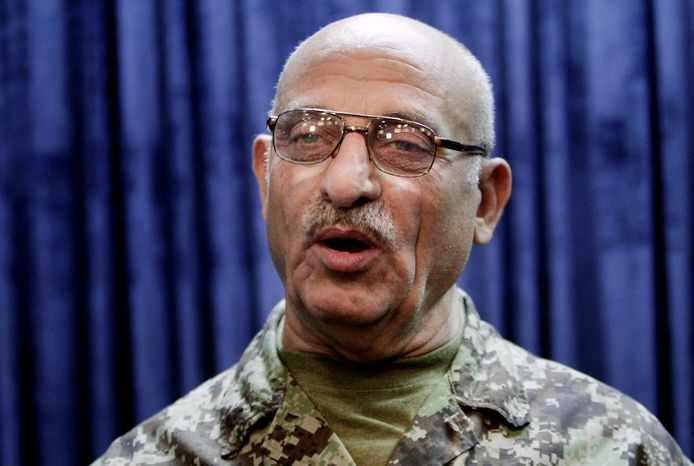 Gen. Sher Mohammad Karimi, the Afghan army chief of staff, speaks during an interview with The Associated Press in Kabul, Afghanistan, on Thursday, June 13, 2013. (AP Photo/Rahmat Gul)