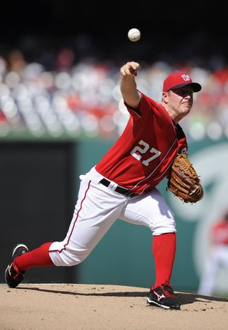 Washington Nationals starting pitcher Jordan Zimmermann delivers against the San Diego Padres during the first inning of a baseball game on Saturday, July 6, 2013, in Washington. (AP Photo/