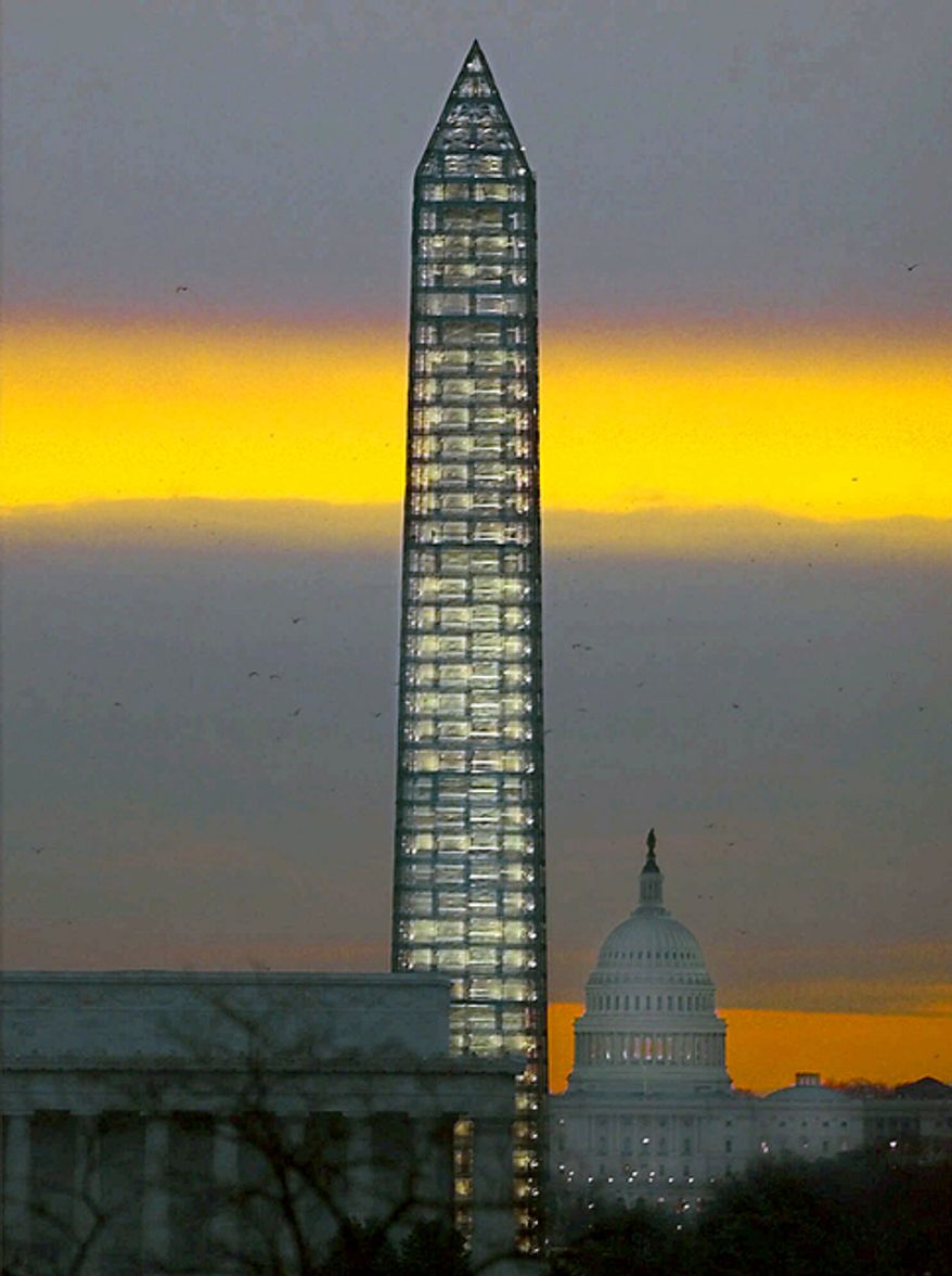 The Washington Monument was previously encased in scaffolding in 1999 during a restoration that helped prevent further damage when an earthquake hit the region in August 2011, necessitating the current repairs. (Associated Press)