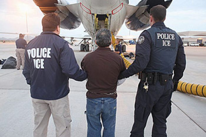 Immigration and Customs Enforcement is deporting fewer illegal immigrants this fiscal year, but a larger percentage of them have no criminal records. The numbers suggest that the Obama administration is struggling to meet its stated goals. (ICE via Associated Press)**FILE**