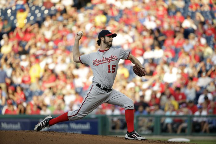Dan Haren returned from the disabled list and allowed two runs in five innings against the Phillies Monday night. (Associated Press photo)