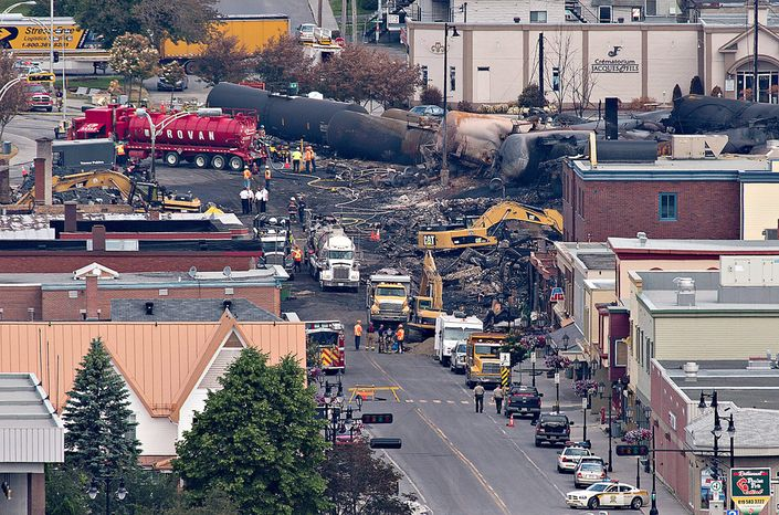 The deadly derailment of a train in Lac-Megantic, Quebec, shows the dangers of transporting oil by rail through highly populated