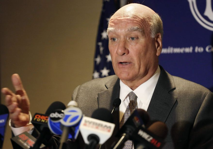 ** FILE ** Former White House Chief of Staff Bill Daley speaks at a news conference in Chicago on Monday, June 17, 2013. (AP Photo/M. Spencer Green)