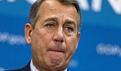 House Speaker John Boehner, Ohio Republican, and GOP leaders meet with reporters on Capitol Hill in Washington on July 9, 2013, following a Republican strategy session. (Associated Press)