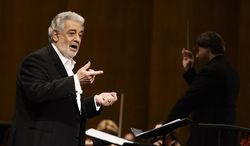 Tenor Placido Domingo, shown here performing in Los Angeles last month, is in the hospital after suffering a blockage in an artery of the lungs. His publicist says the 72-year-old is expected to make a full recovery but will have to miss at least two appearances scheduled for later this month. (Photo by Dan Steinberg/Invision/AP, File)