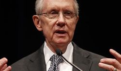 ** FILE ** Nevada Sen. Harry Reid speaks during a news conference at Mandalay Bay in Las Vegas Tuesday, July 2, 2013. (AP Photo/Las Vegas Review-Journal, John Locher)