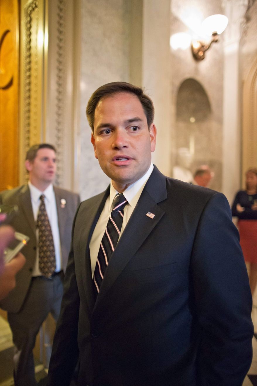 ** FILE ** Sen. Marco Rubio, once a darling of the tea party movement, has dismayed many of the people who helped put him in office with his immigration reform bill. (Associated Press)