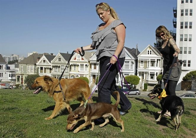 "** FILE ** Antonia Tamer, left, and a woman who identified herself as ""Cheyenne"" walk their dogs in"