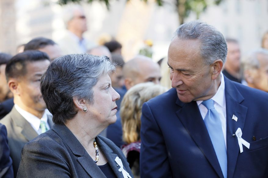 **FILE** Homeland Security Secretary Janet Napolitano speaks with New York Sen. Charles Schumer during observances marking the 11th anniversary of the terror attacks on the World Trade Center on Sept. 11, 2012 in New York. (Associated Press)
