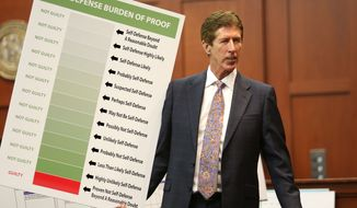 Defense counsel Mark O'Mara holds up a chart during closing arguments in the trial of George Zimmerman at the Seminole County Criminal Justice Center, in Sanford, Fla., Friday, July 12, 2013. Zimmerman is charged in the 2012 shooting death of unarmed teenager Trayvon Martin. (AP Photo/Orlando Sentinel, Joe Burbank, Pool)