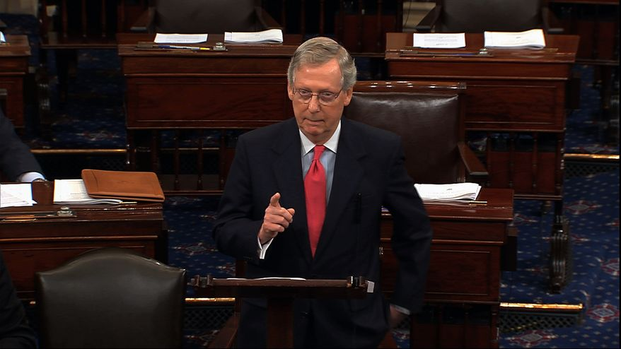 In this image from Senate Television, Republican leader Mitch McConnell speaks on the Senate floor in Washington on July 11, 2013. (Associated Press/Senate TV)