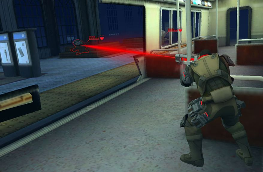 A soldier takes his turn and shoots a dangerous extraterrestrial forma subway car in the iPad game XCOM: Enemy Unknown.