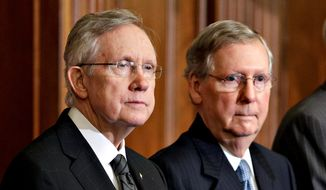 "Senate Majority Leader Harry Reid of Nevada (left) and Minority Leader Mitch McConnell of Kentucky are sparring on the eve of a session to change Senate rules to remove a 60-vote threshold for President Obama's nominations to win confirmation. Mr. Reid says the changes are minimal; Mr. McConnell says Mr. Reid would be ""breaking the rules  in order to change the rules."" (Associated Press)"