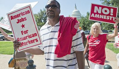 "The ""March for Jobs"" rally sponsored by the Black American Leadership Alliance on Monday was the first broad, organized rally in the nation's capital on the issue since House Republicans held a strategy session last week on immigration reform. (Associated Press)"