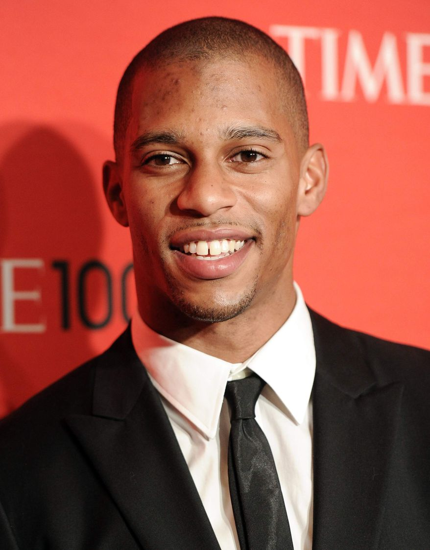 ** FILE ** This April 24, 2012, file photo shows New York Giants football player Victor Cruz attending the TIME 100 gala, celebrating the 100 most influential people in the world, at the Frederick P. Rose Hall in New York. (AP Photo/Evan Agostini,File)