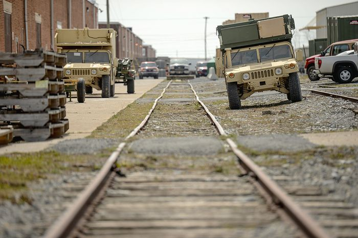 Military Humvee vehicles sit idle at Letterkenny Army Depot. Military chiefs have delayed maintenance for equipment returning from Afghanistan beca