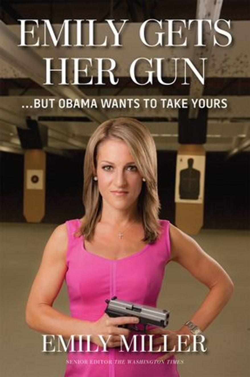 """The cover for """"Emily Gets Her Gun"""" by Washington Times senior opinion editor Emily Miller was chosen via an online poll. It goes on sale Sept. 2. (Regnery Publishing)"""