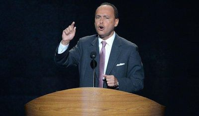 ** FILE ** Rep. Luis V. Gutierrez, D-Ill. addresses the Democratic National Convention at the Time Warner Arena in Charlotte, N.C., on Wednesday, September 5, 2012. (Andrew Geraci/ The Washington Times)