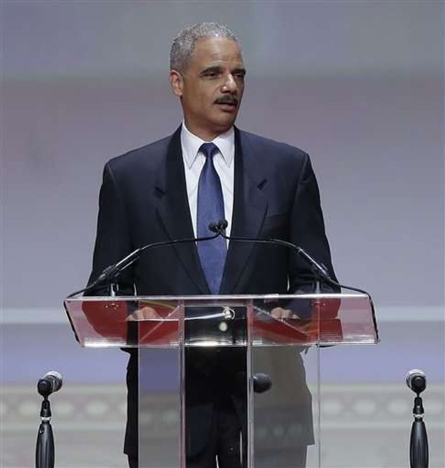 Attorney General Eric H. Holder Jr. speaks at Delta Sigma Theta's social action luncheon, part of the sorority's 51st national convention, in Washington on Monday, July 15, 2013. (Associated Press)