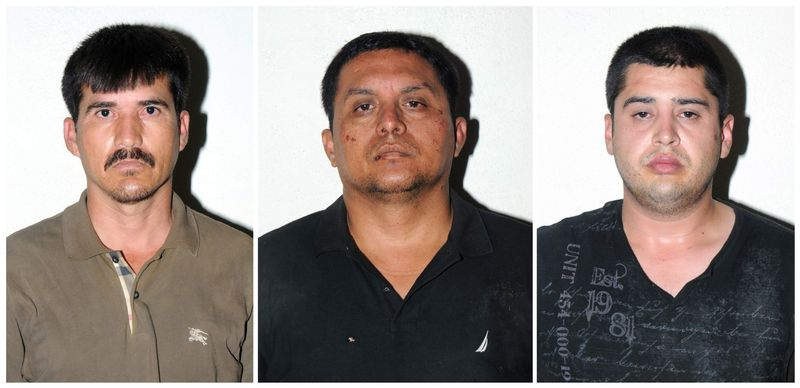 In this combo of three photos released on Tuesday, July 16, 2013, by the Mexican Navy, are Zetas drug cartel leader Miguel Angel Trevino Morales, center, Ernesto Reyes Garcia, left, and Abdon Federico Rodriguez Garcia, right, after their arrests in Mexico. Trevino Morales, 40, was captured before dawn Monday by Mexican marines who intercepted a pickup truck with $2 million in cash in the countryside outside the border city of Nuevo Laredo. (AP Photo/Mexican Navy)