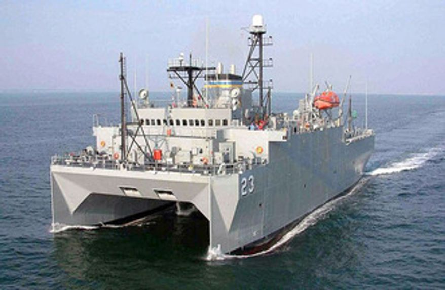 USNS Impeccable, an intelligence-gathering ship, was harassed by a Chinese security ship last month in an incident that analysts say indicates Beijing is stepping up aggressive maritime encounters toward the U.S. Navy. (U.S. Navy)