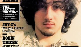 Boston Marathon bombing suspect Dzhokhar Tsarnaev appears on the cover of the Aug. 1, 2013, issue of Rolling Stone magazine. (AP Photo/Wenner Media)