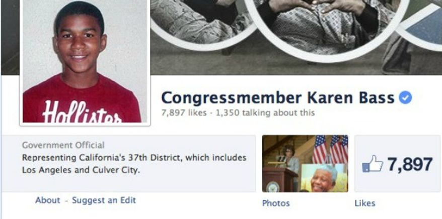 Democratic Congressman Karen Bass from California has changed here social media pages to images of Trayvon Martin, the young man who was killed by George Zimmerman during an altercation. (Facebook)