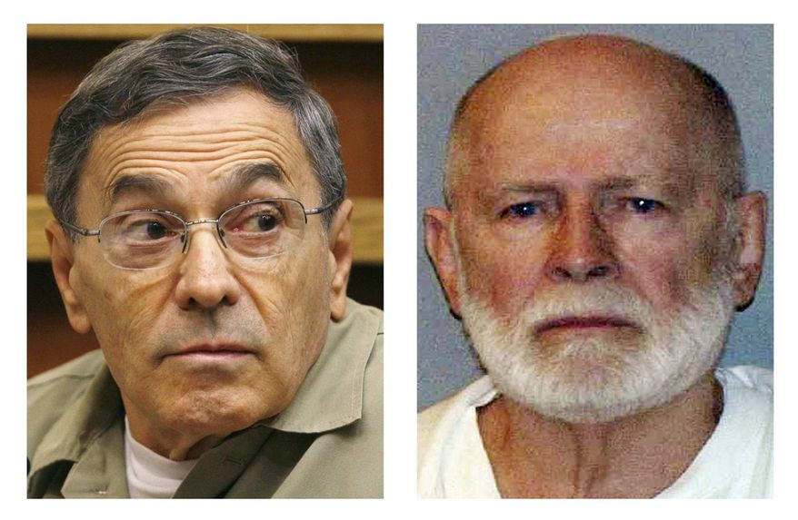 """This pair of file photos shows Stephen """"The Rifleman"""" Flemmi, left, on Sept. 22, 2008, as he testified in a Miami court in the murder trial of former FBI agent John Connolly; and James """"Whitey"""" Bulger, right, in a June 23, 2011 booking photo provided by the U.S. Marshals Service. (AP Photos/J. Pat Carter and U.S. Marshals Service, File)"""