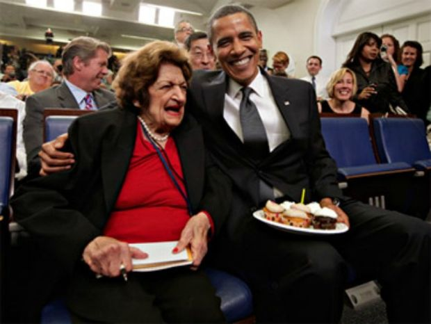 ** FILE ** President Obama and veteran White House reporter Helen Thomas (left) celebrate a shared birthday on Aug. 4, 2009, in the White House Press Briefing Room in Washington. Ms. Thomas died on Saturday, July 20, 2013. (Associated Press)