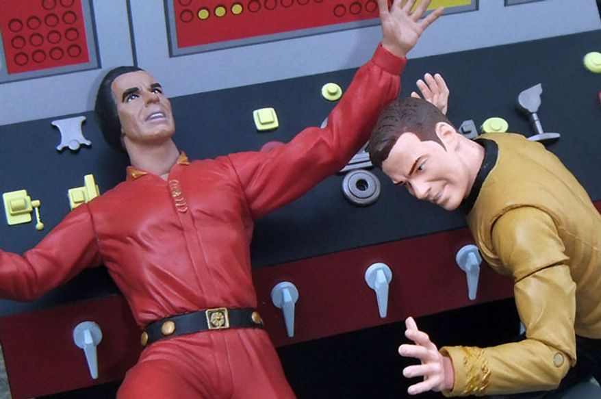 "Diamond Select Toys' Captain Kirk pushes Khan in a set based on the Start Trek episode ""Space Seed."" (Photo by Joseph Szadkowski / The Washington Times)"
