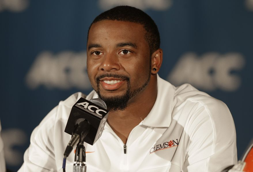 Clemson's Tajh Boyd speaks to the media during the Atlantic Coast Conference Media Day in Greensboro, N.C., Sunday, July 21, 2013. (AP Photo/Chuck Burton)