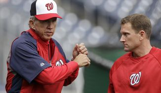 **FILE** Washington Nationals manager Davey Johnson works with Washington Nationals batting coach Rick Eckstein during batting practice before a baseball game against the Colorado Rockies at Nationals Park, Sunday, June 23, 2013, in Washington. (AP Photo/Carolyn Kaster)