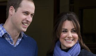 ** FILE ** Britain's Prince William and wife Kate, Duchess of Cambridge, leave the King Edward VII Hospital in central London on Thursday, Dec. 6, 2012. The duchess was admitted to the hospital when she suffered acute morning sickness in her pregnancy. She has entered the early stages of labor, it was announced on Monday, July 22, 2013. (AP Photo/Alastair Grant)