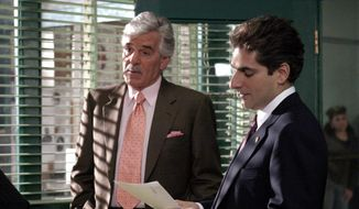 "In this undated photo from NBC Universal, Dennis Farina, who plays New York Police Detective Joe Fontana, acts in a scene with Michael Imperioli in the role of Detective Nick Falco, in an episode from NBC's police drama,""Law & Order."" (AP Photo/ NBC Universal,Jessica Burstein) ** FILE **"