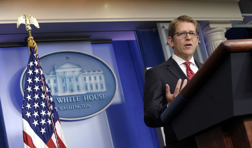 ** FILE ** White House press secretary Jay Carney speaks during the daily briefing at the White House in Washington on Thursday, July 18, 2013. (AP Photo/Susan Walsh)