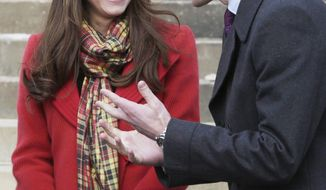 ** FILE ** This is a Friday April 5, 2013, file photo Britain's Prince William and Kate Duchess of Cambridge, smile during a visit to Dumfries House in Dumfries, Scotland, to attend the opening of an outdoor centre. Prince William's wife Kate has been admitted to the hospital in early stages of labor it was announced on Monday, July 22, 2013. (AP Photo/Danny Lawson, Pool)