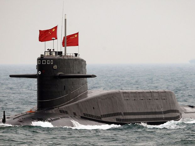 A Chinese submarine on the ocean surface. (credit: AsiaNews)