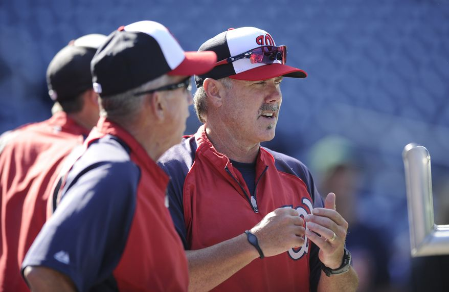 Washington Nationals new hitting coach Rick Schu, right, watches batting practice next to Davey Johnson, left, before a baseball game against the Pittsburgh Pirates, Tuesday, July 23, 2013, in Washington. (AP Photo/Nick Wass)