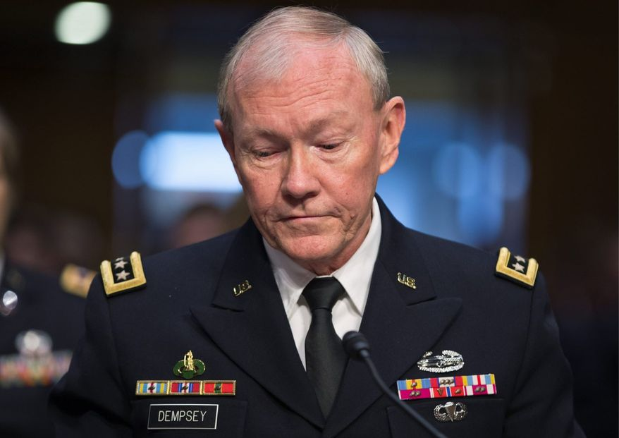 ** FILE ** Gen. Martin Dempsey, chairman of the Joint Chiefs of Staff, appears before the Senate Armed Services Committee for a hearing to consider his reappointment to the military's highest post, on Capitol Hill in Washington, Thursday, July 18, 2013. (AP Photo/J. Scott Applewhite)